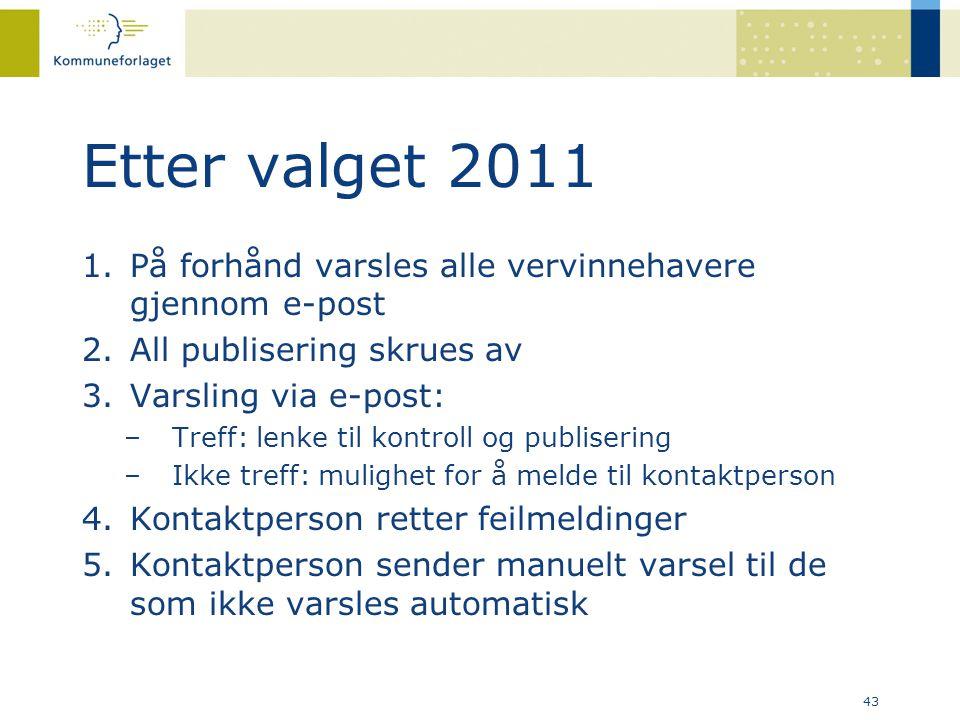 43 Etter valget 2011 1.På forhånd varsles alle vervinnehavere gjennom e-post 2.All publisering skrues av 3.Varsling via e-post: –Treff: lenke til kont
