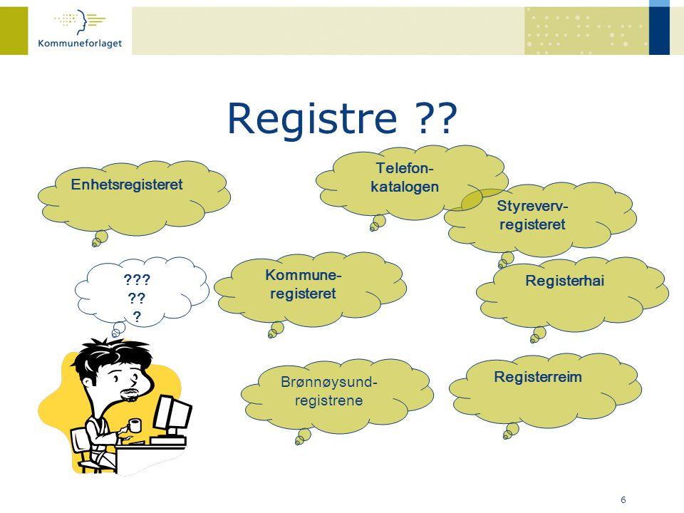 Registre ?? 6 Enhetsregisteret Brønnøysund- registrene Registerreim Styreverv- registeret Kommune- registeret ??? ?? ? Registerhai Telefon- katalogen