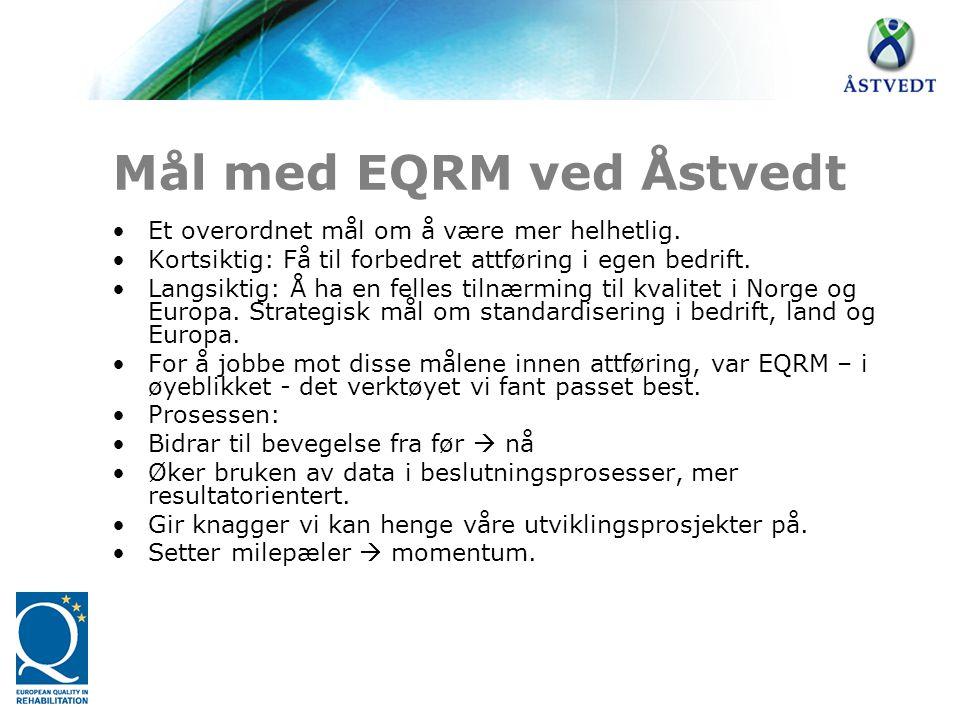 Mål med EQRM ved Åstvedt •Et overordnet mål om å være mer helhetlig. •Kortsiktig: Få til forbedret attføring i egen bedrift. •Langsiktig: Å ha en fell