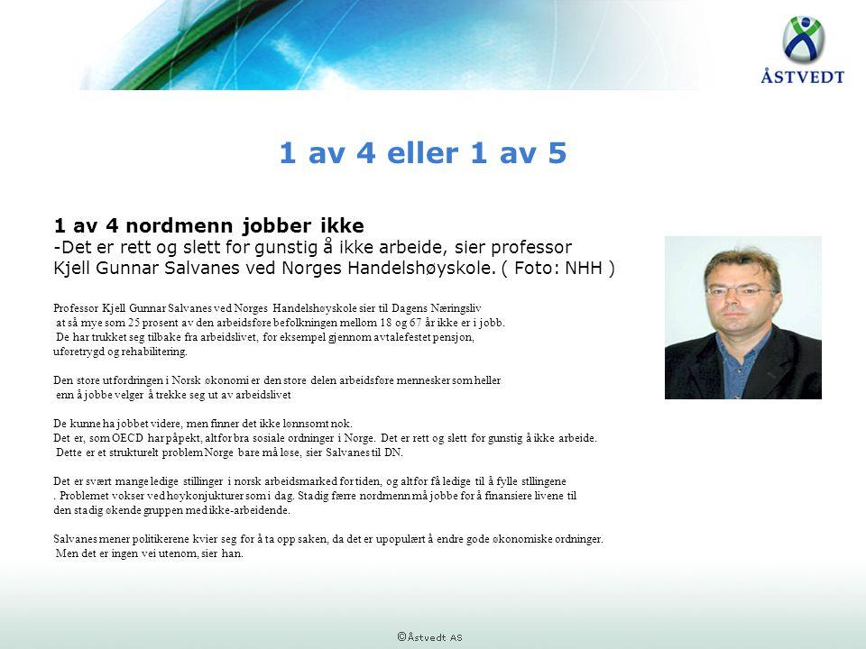 1 av 4 eller 1 av 5 1 av 4 nordmenn jobber ikke -Det er rett og slett for gunstig å ikke arbeide, sier professor Kjell Gunnar Salvanes ved Norges Hand