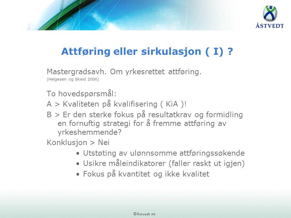 Attføring eller sirkulasjon ( I) ? Mastergradsavh. Om yrkesrettet attføring. (Helgesen og Skeid 2006) To hovedspørsmål: A > Kvaliteten på kvalifiserin