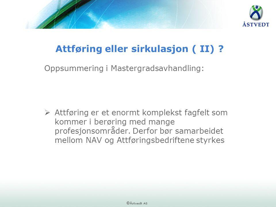 Attføring eller sirkulasjon ( II) ? Oppsummering i Mastergradsavhandling:  Attføring er et enormt komplekst fagfelt som kommer i berøring med mange p