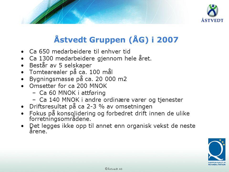Åstvedt Gruppen (ÅG) i 2007 •Ca 650 medarbeidere til enhver tid •Ca 1300 medarbeidere gjennom hele året. •Består av 5 selskaper •Tomtearealer på ca. 1
