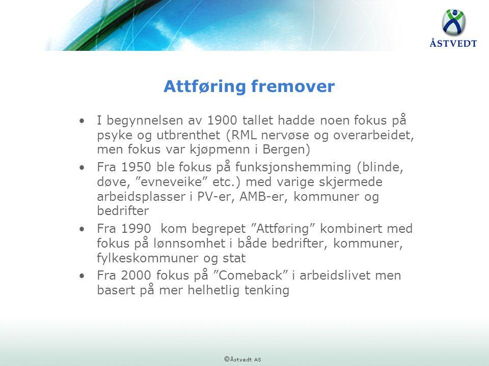 Attføring fremover •I begynnelsen av 1900 tallet hadde noen fokus på psyke og utbrenthet (RML nervøse og overarbeidet, men fokus var kjøpmenn i Bergen