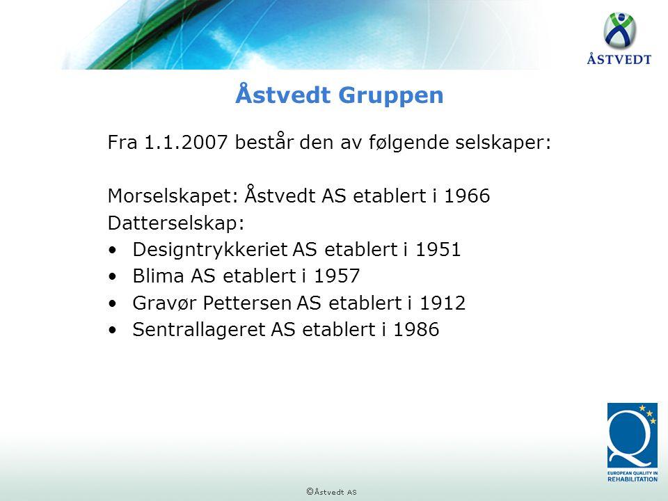 Åstvedt Gruppen Fra 1.1.2007 består den av følgende selskaper: Morselskapet: Åstvedt AS etablert i 1966 Datterselskap: •Designtrykkeriet AS etablert i