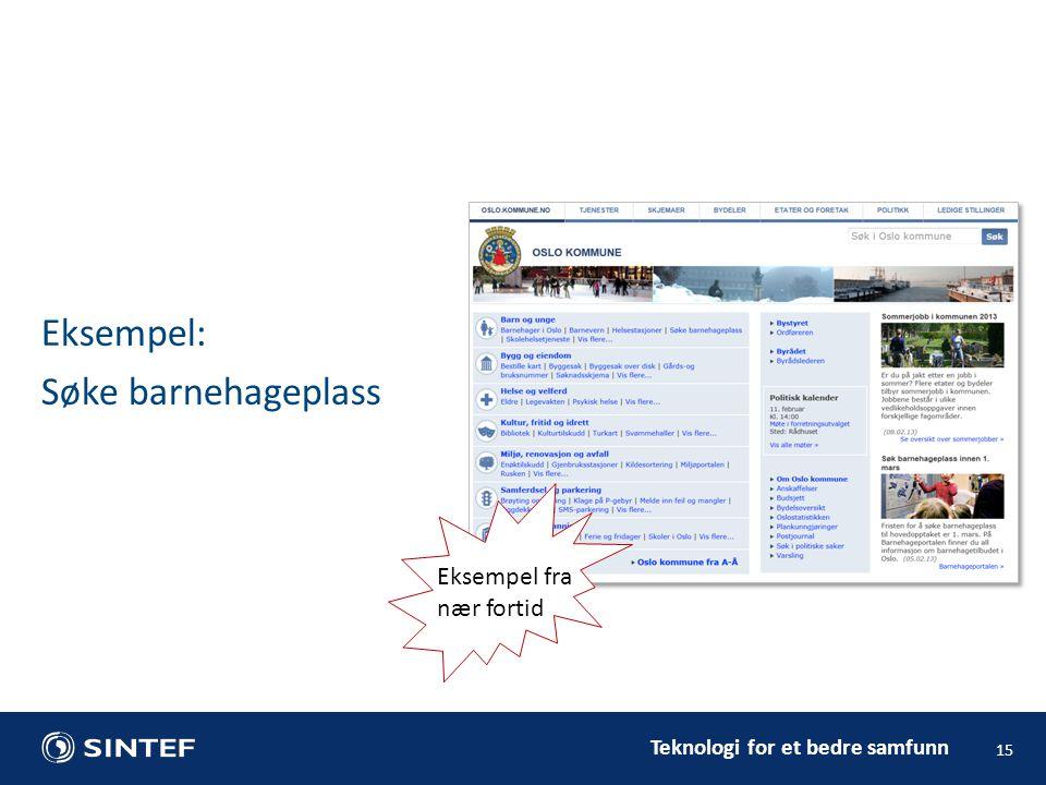 Teknologi for et bedre samfunn Eksempel: Søke barnehageplass 15 Eksempel fra nær fortid