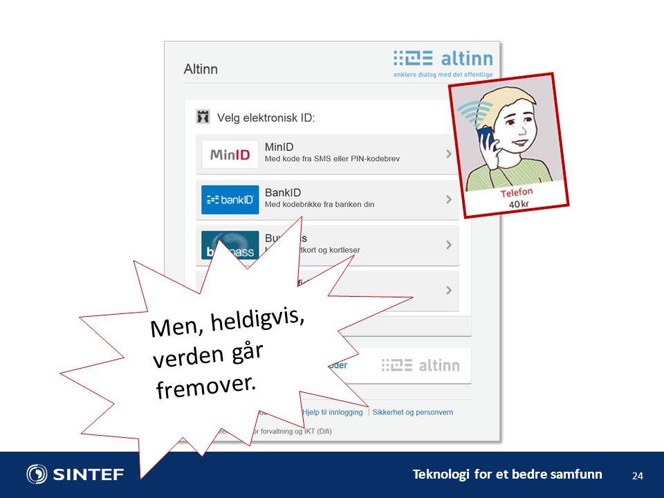 Teknologi for et bedre samfunn 24 Men, heldigvis, verden går fremover.