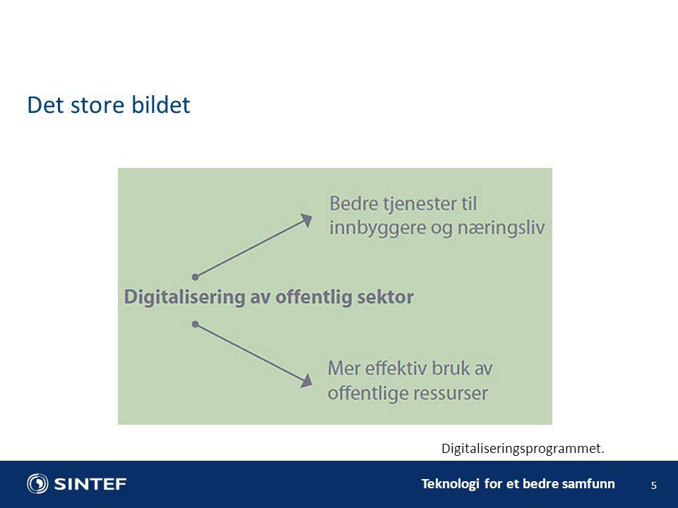 Teknologi for et bedre samfunn Det store bildet 5 Digitaliseringsprogrammet.