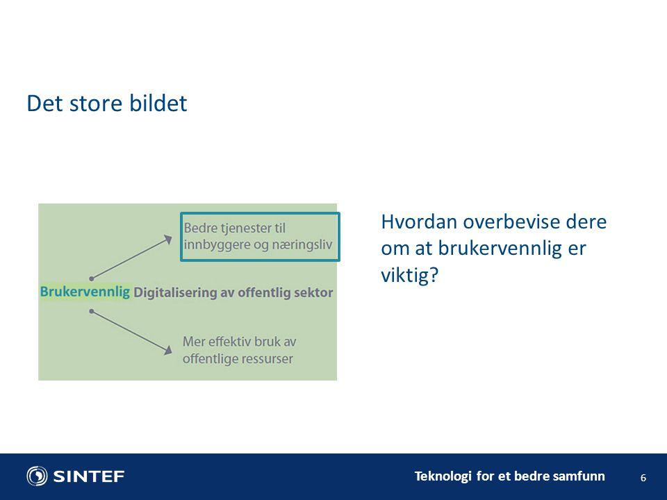 Teknologi for et bedre samfunn Det store bildet 6 Hvordan overbevise dere om at brukervennlig er viktig?