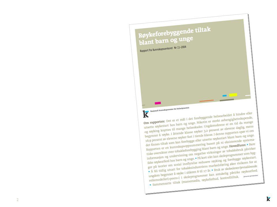Nasjonalt kunnskapssenter for helsetjenesten Hva nytter innen tobakksforbyggende arbeid? En oppsummering av kunnskap liv.merete.reinar@kunnskapssenter