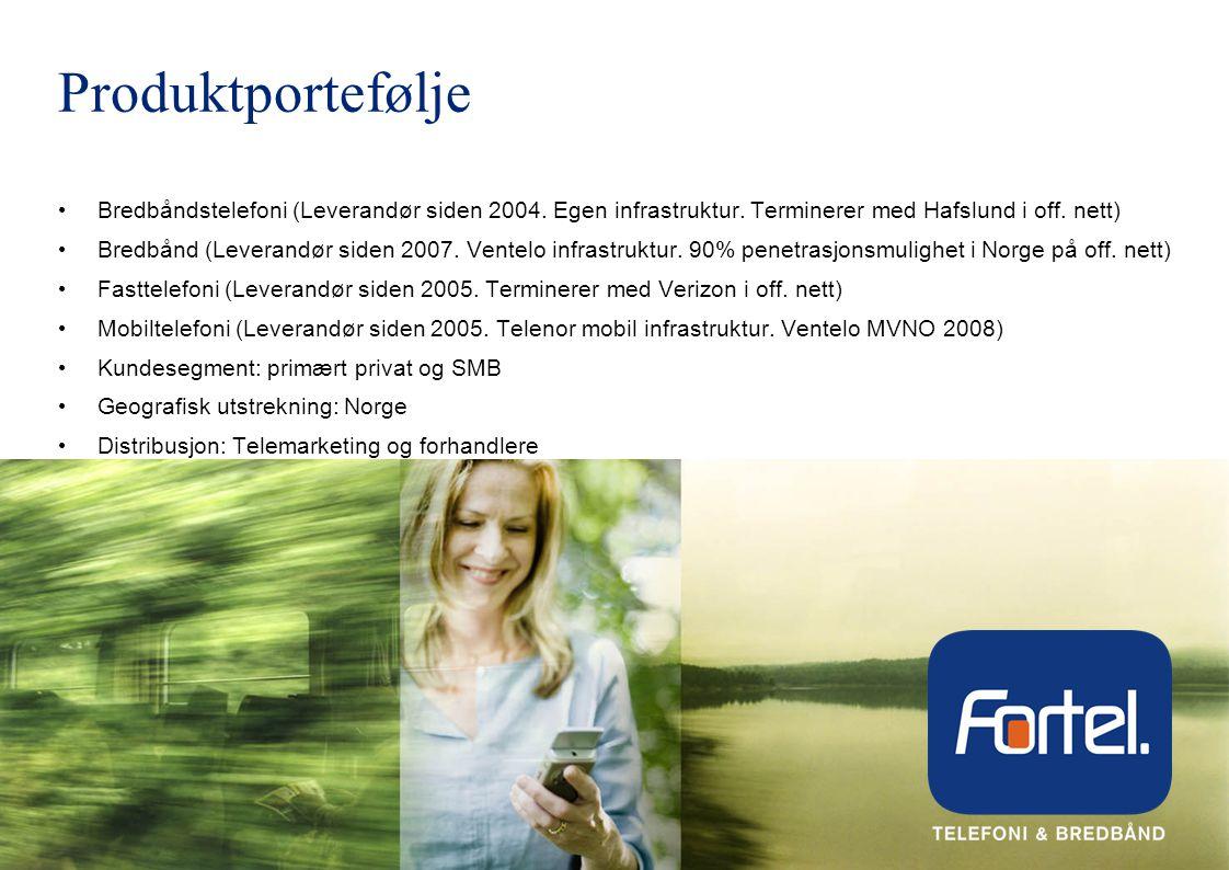 Produktportefølje • Bredbåndstelefoni (Leverandør siden 2004.