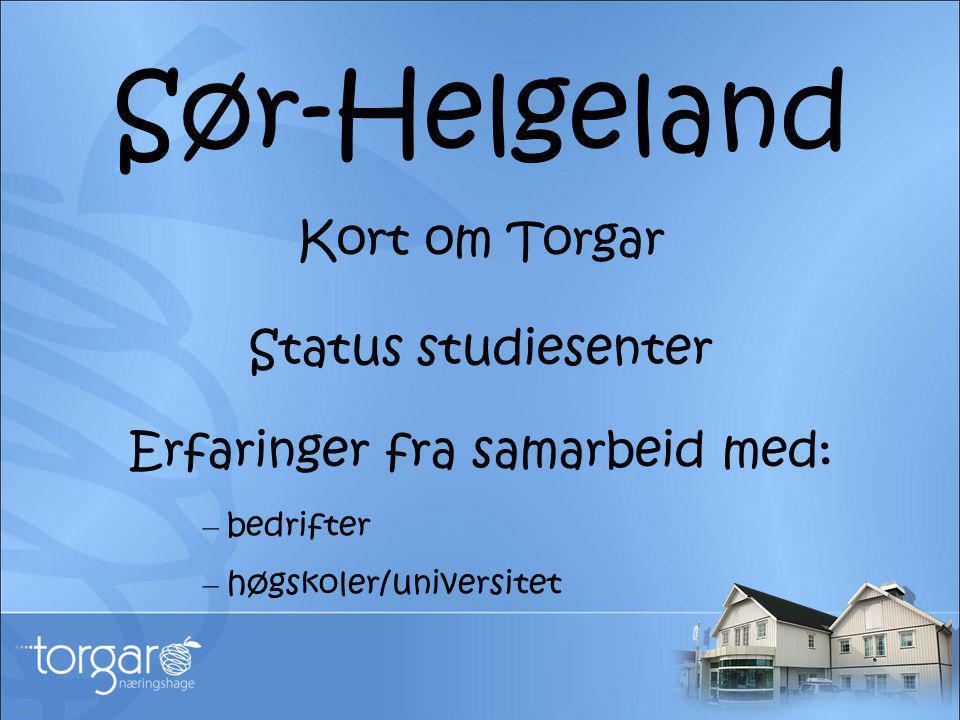 Sør-Helgeland Kort om Torgar Status studiesenter Erfaringer fra samarbeid med: – bedrifter – høgskoler/universitet