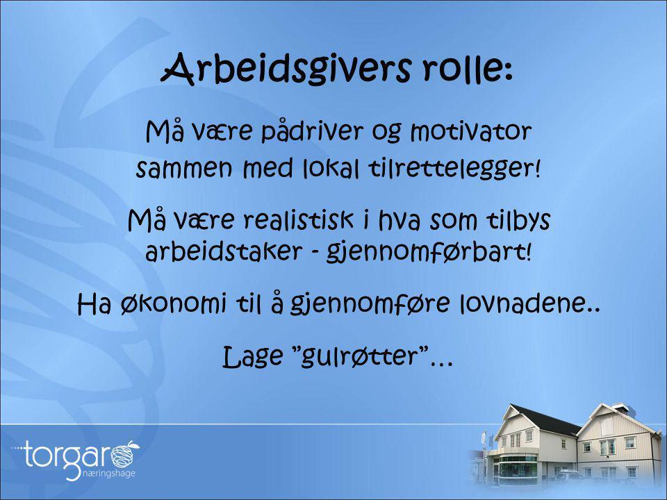 Arbeidsgivers rolle: Må være pådriver og motivator sammen med lokal tilrettelegger! Må være realistisk i hva som tilbys arbeidstaker - gjennomførbart!