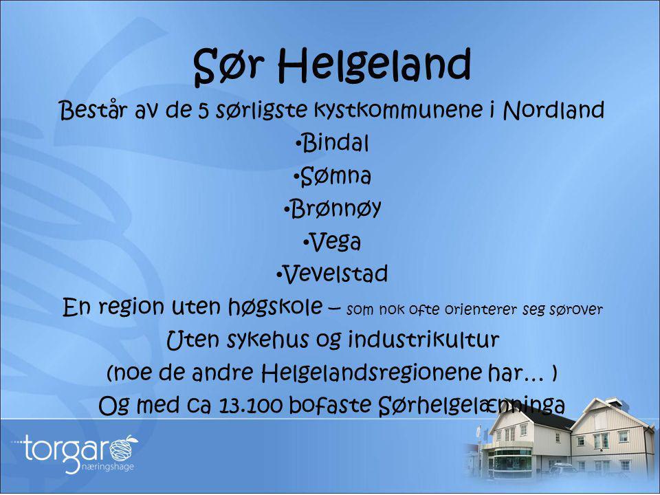 Sør Helgeland Består av de 5 sørligste kystkommunene i Nordland • Bindal • Sømna • Brønnøy • Vega • Vevelstad En region uten høgskole – som nok ofte o