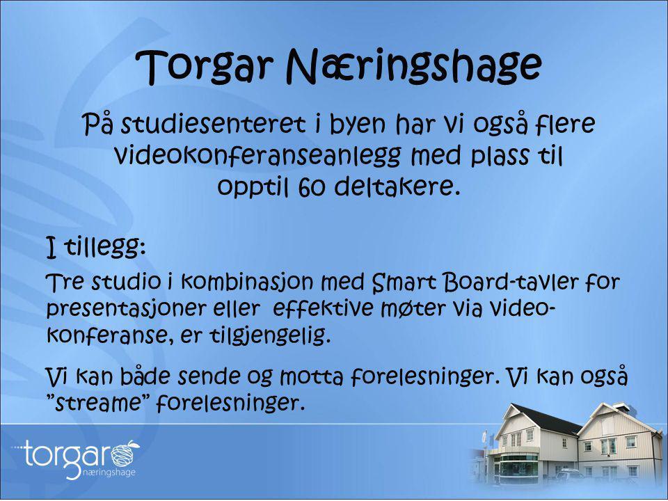 Torgar Næringshage På studiesenteret i byen har vi også flere videokonferanseanlegg med plass til opptil 60 deltakere. I tillegg: Tre studio i kombina