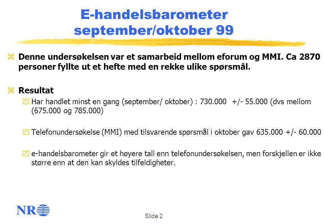 Slide 2 E-handelsbarometer september/oktober 99 zDenne undersøkelsen var et samarbeid mellom eforum og MMI. Ca 2870 personer fyllte ut et hefte med en