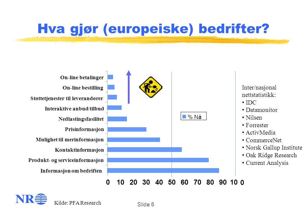 Slide 6 Hva gjør (europeiske) bedrifter? 010203040506070809010 0 Informasjon om bedriften Produkt- og serviceinformasjon Kontaktinformasjon Prisinform
