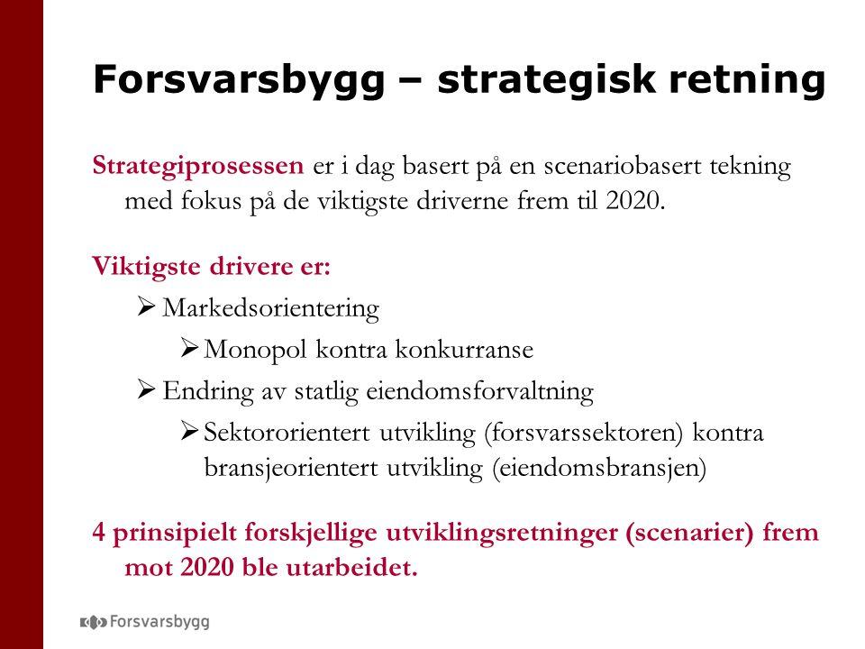 Forsvarsbygg – strategisk retning Strategiprosessen er i dag basert på en scenariobasert tekning med fokus på de viktigste driverne frem til 2020.