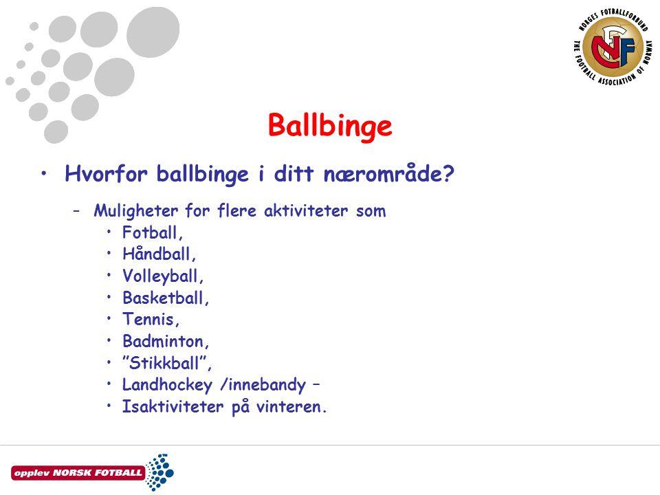 Ballbinge •Hvorfor ballbinge i ditt nærområde? –Muligheter for flere aktiviteter som •Fotball, •Håndball, •Volleyball, •Basketball, •Tennis, •Badminto