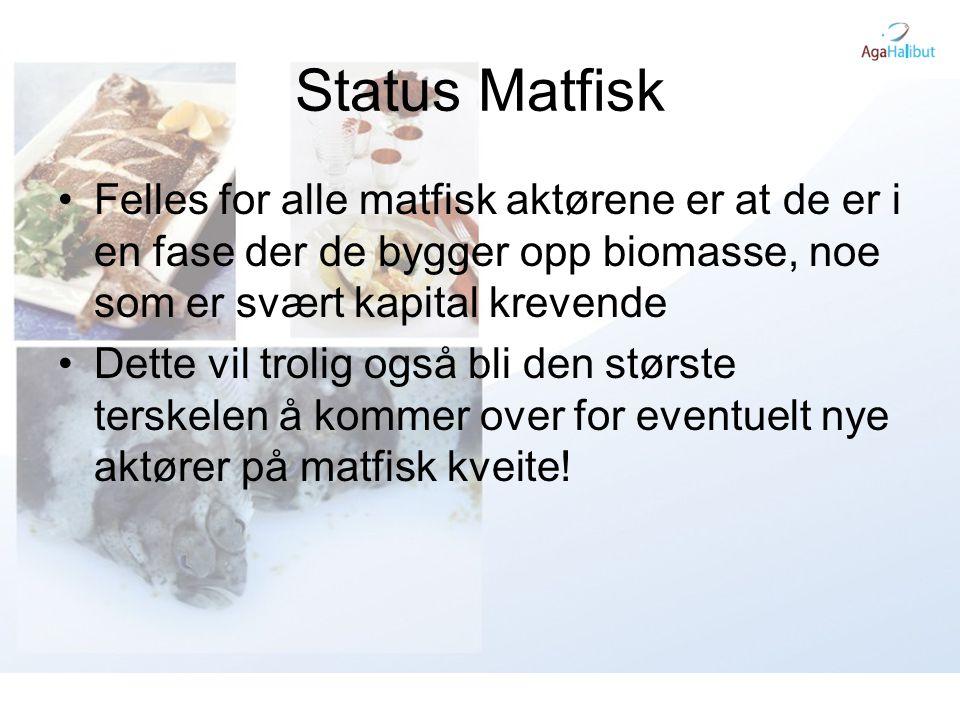 Status Matfisk •Felles for alle matfisk aktørene er at de er i en fase der de bygger opp biomasse, noe som er svært kapital krevende •Dette vil trolig