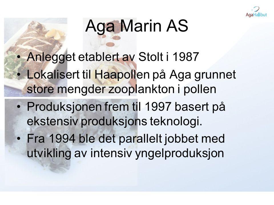 Aga Halibut AS •Etablert november 2004 •Kjøpte konkursboet etter Dønna Marine Holding fra Helgeland Sparebank og Rana Sparebank •Påvekst med resirkulasjon på Bjørn i Dønna kommune.