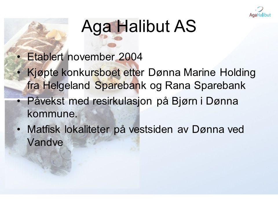 Aga Halibut AS •Etablert november 2004 •Kjøpte konkursboet etter Dønna Marine Holding fra Helgeland Sparebank og Rana Sparebank •Påvekst med resirkula