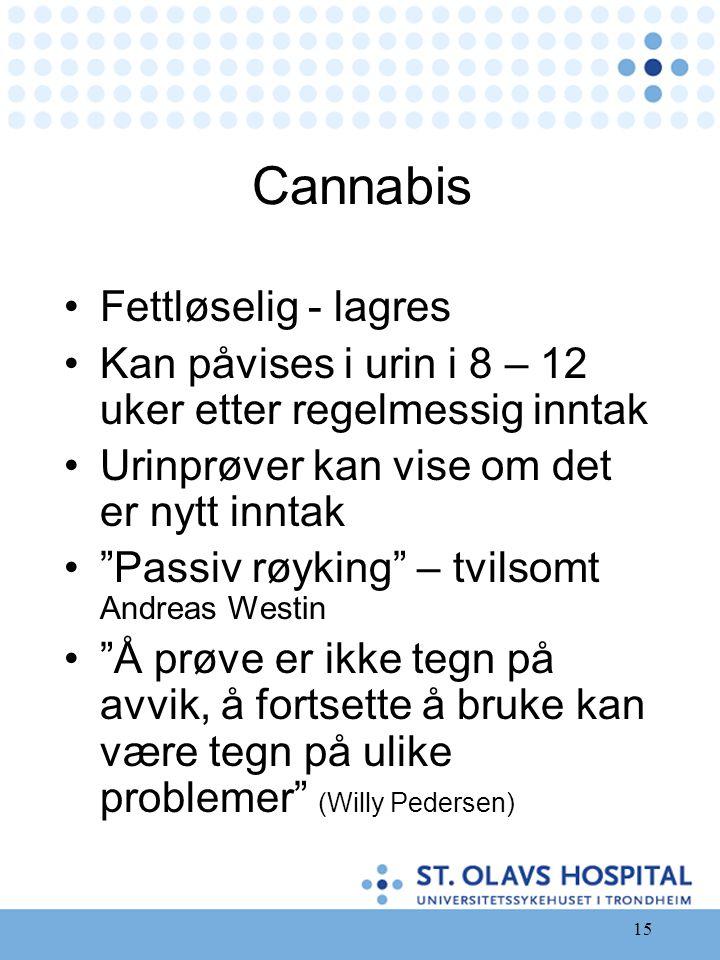 """15 Cannabis •Fettløselig - lagres •Kan påvises i urin i 8 – 12 uker etter regelmessig inntak •Urinprøver kan vise om det er nytt inntak •""""Passiv røyki"""