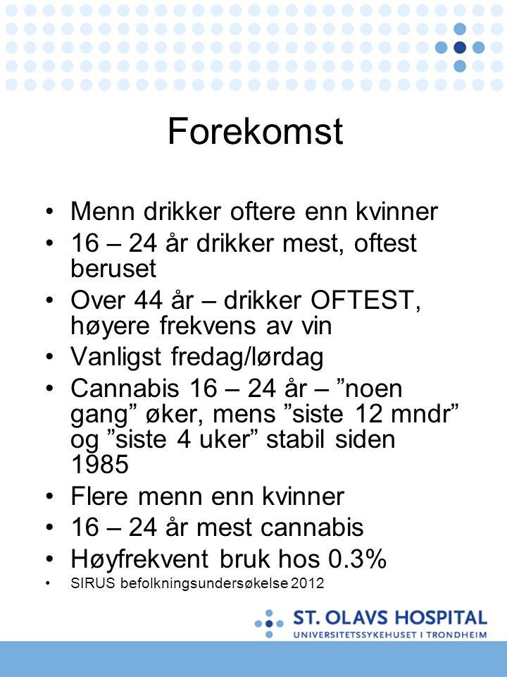Forekomst •Menn drikker oftere enn kvinner •16 – 24 år drikker mest, oftest beruset •Over 44 år – drikker OFTEST, høyere frekvens av vin •Vanligst fre