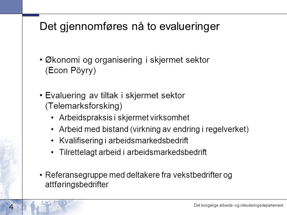4 Det kongelige arbeids- og inkluderingsdepartement Det gjennomføres nå to evalueringer •Økonomi og organisering i skjermet sektor (Econ Pöyry) •Evalu