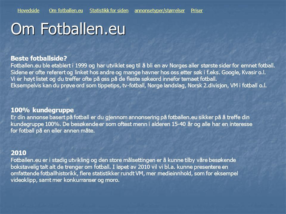 Om Fotballen.eu HovedsideOm fotballen.euStatistikk for sidenannonsetyper/størrelserPriser Beste fotballside? Fotballen.eu ble etablert i 1999 og har u