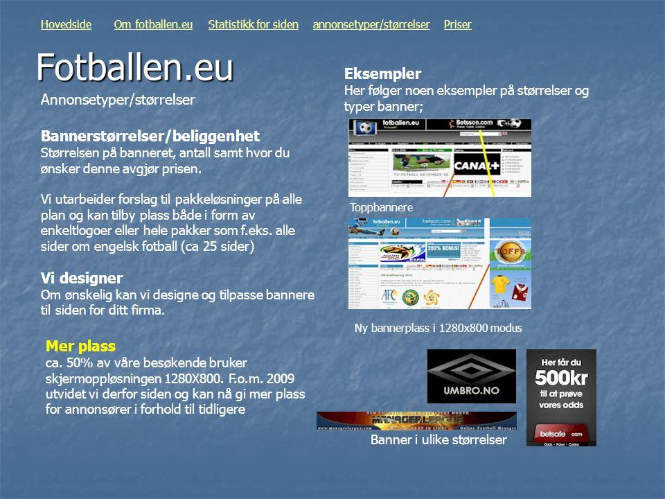 Fotballen.eu Annonsetyper/størrelser HovedsideOm fotballen.euStatistikk for sidenannonsetyper/størrelserPriser Bannerstørrelser/beliggenhet Størrelsen
