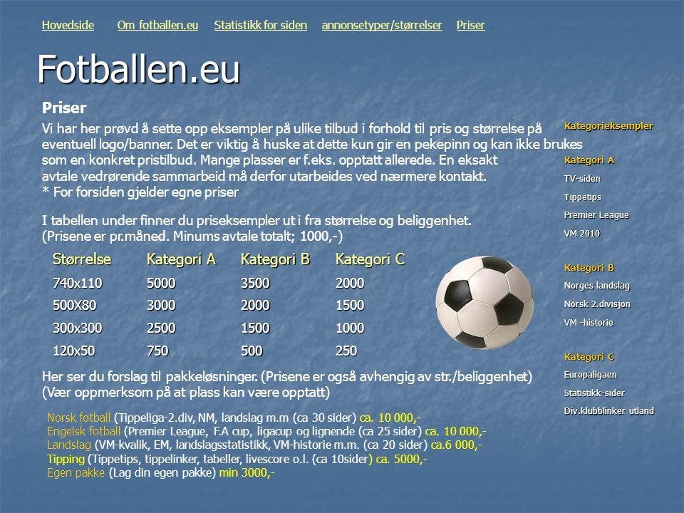 Fotballen.eu Vi har her prøvd å sette opp eksempler på ulike tilbud i forhold til pris og størrelse på eventuell logo/banner. Det er viktig å huske at