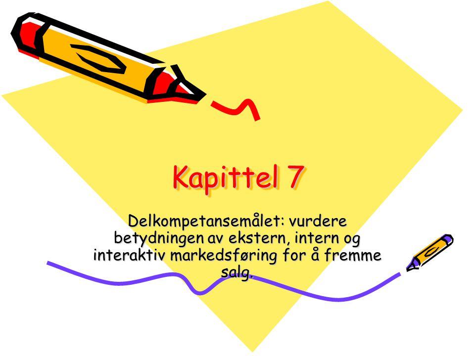 Markedsføringens 3 sider •Ekstern markedsføringEkstern markedsføring •Interaktiv markedsføringInteraktiv markedsføring •Intern markedsføringIntern markedsføring •Se oversikten over konkurransmidlene side 54