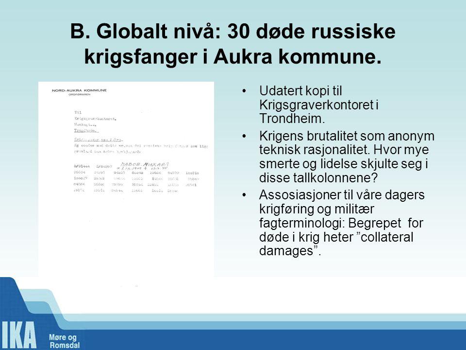 B.Globalt nivå: 30 døde russiske krigsfanger i Aukra kommune.