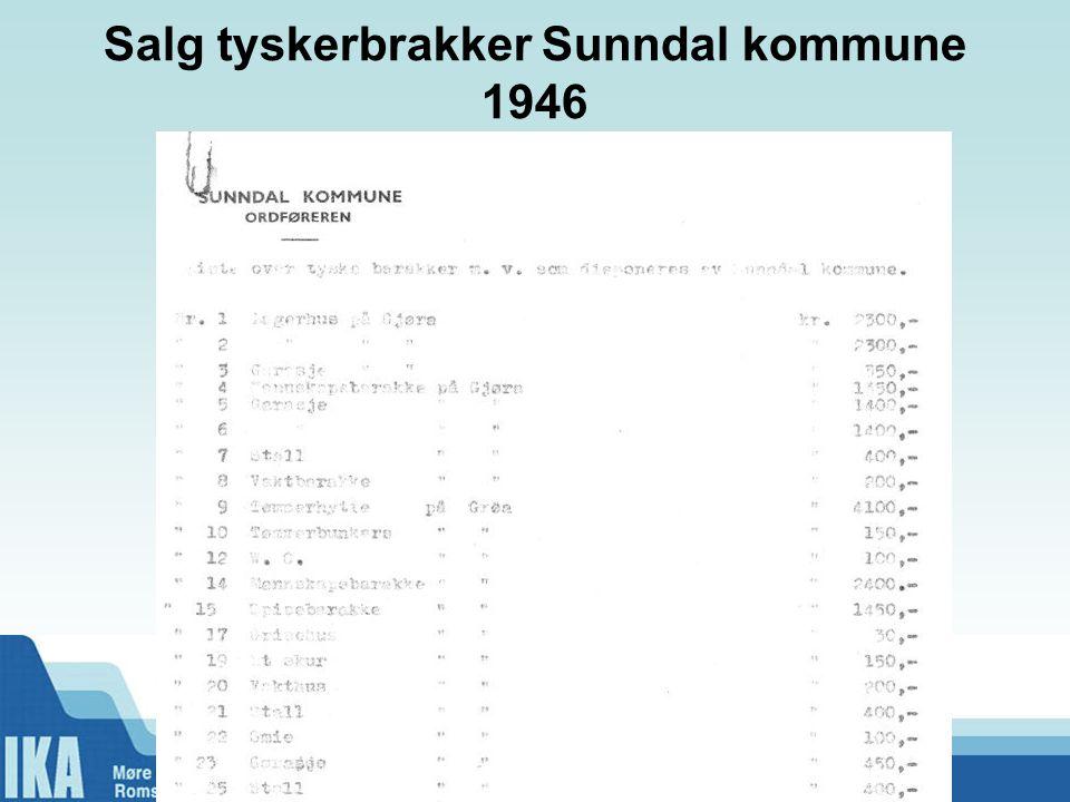 Salg tyskerbrakker Sunndal kommune 1946