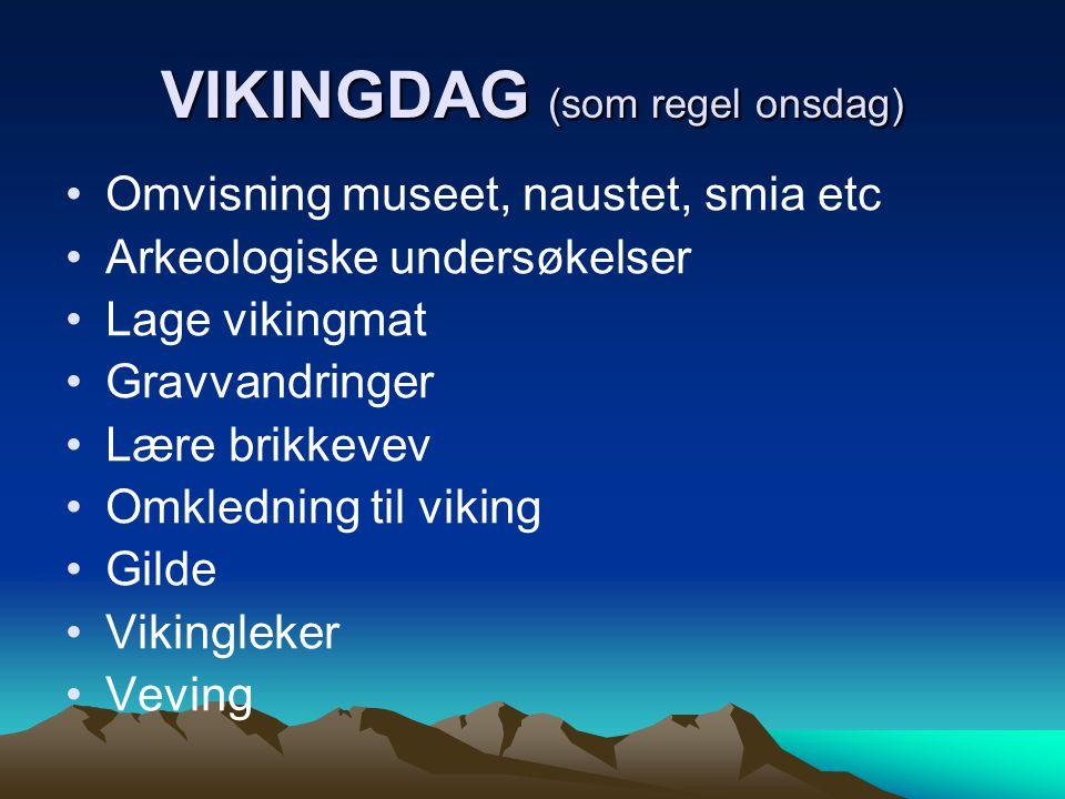 VIKINGDAG (som regel onsdag) •Omvisning museet, naustet, smia etc •Arkeologiske undersøkelser •Lage vikingmat •Gravvandringer •Lære brikkevev •Omkledn