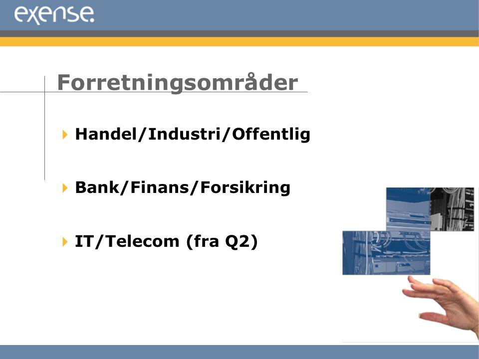  Handel/Industri/Offentlig  Bank/Finans/Forsikring  IT/Telecom (fra Q2) Forretningsområder