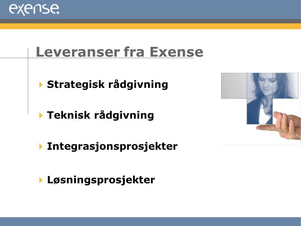  Strategisk rådgivning  Teknisk rådgivning  Integrasjonsprosjekter  Løsningsprosjekter Leveranser fra Exense