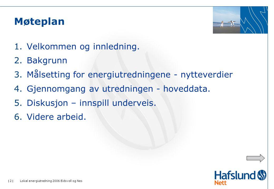 2  Lokal energiutredning 2006 Eidsvoll og Nes Møteplan 1.Velkommen og innledning.