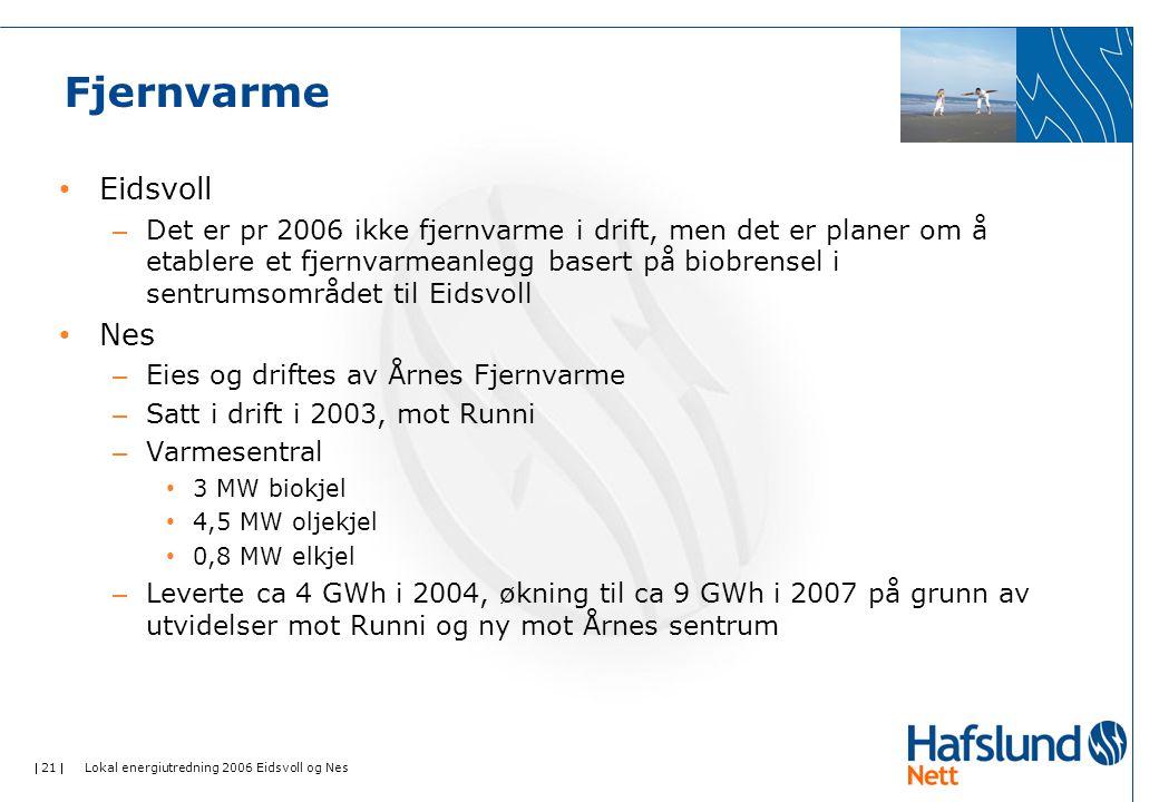  21  Lokal energiutredning 2006 Eidsvoll og Nes Fjernvarme • Eidsvoll – Det er pr 2006 ikke fjernvarme i drift, men det er planer om å etablere et fjernvarmeanlegg basert på biobrensel i sentrumsområdet til Eidsvoll • Nes – Eies og driftes av Årnes Fjernvarme – Satt i drift i 2003, mot Runni – Varmesentral • 3 MW biokjel • 4,5 MW oljekjel • 0,8 MW elkjel – Leverte ca 4 GWh i 2004, økning til ca 9 GWh i 2007 på grunn av utvidelser mot Runni og ny mot Årnes sentrum