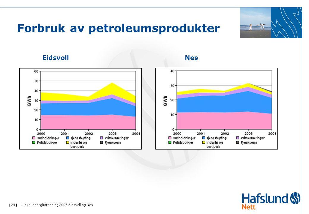  24  Lokal energiutredning 2006 Eidsvoll og Nes Forbruk av petroleumsprodukter EidsvollNes
