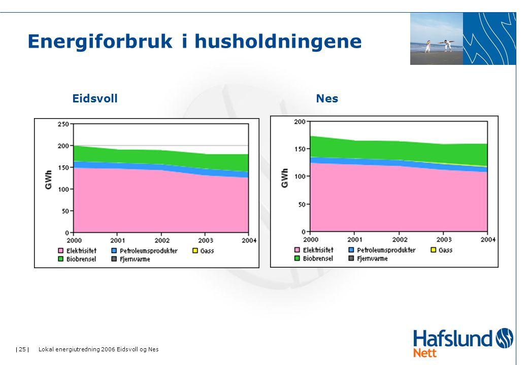  25  Lokal energiutredning 2006 Eidsvoll og Nes Energiforbruk i husholdningene EidsvollNes