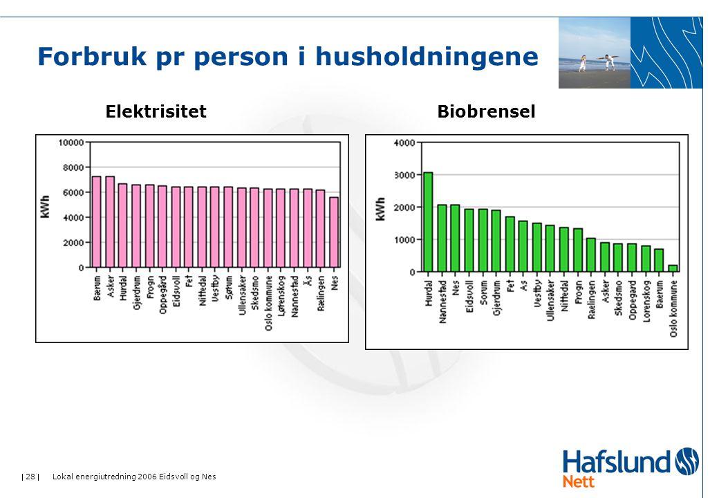  28  Lokal energiutredning 2006 Eidsvoll og Nes Forbruk pr person i husholdningene ElektrisitetBiobrensel
