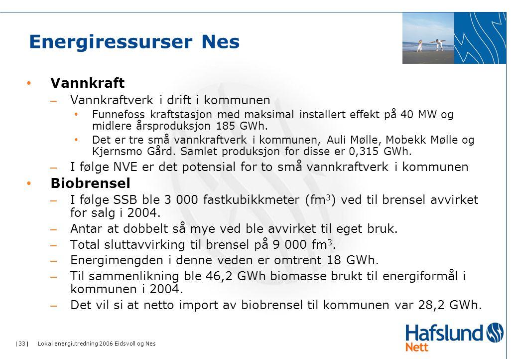  33  Lokal energiutredning 2006 Eidsvoll og Nes Energiressurser Nes • Vannkraft – Vannkraftverk i drift i kommunen • Funnefoss kraftstasjon med maksimal installert effekt på 40 MW og midlere årsproduksjon 185 GWh.