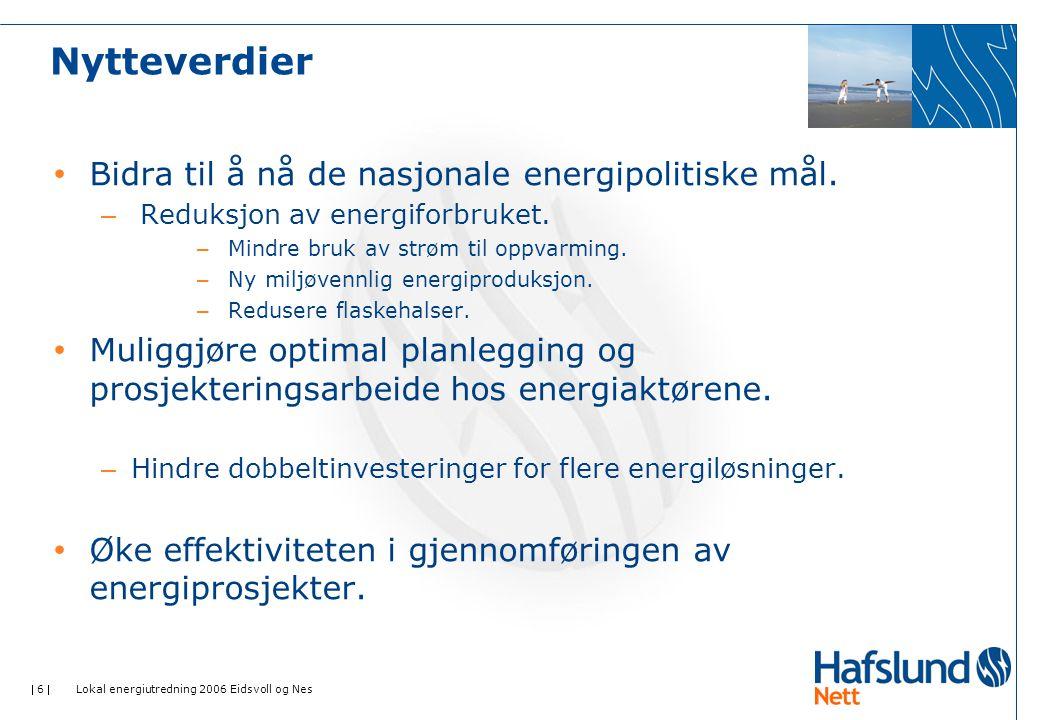  6  Lokal energiutredning 2006 Eidsvoll og Nes Nytteverdier • Bidra til å nå de nasjonale energipolitiske mål.