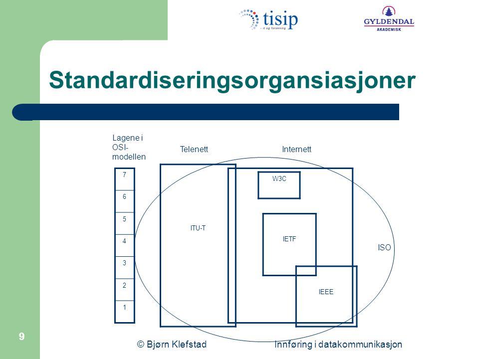 © Bjørn Klefstad Innføring i datakommunikasjon 10 Norske standardiseringsorg.
