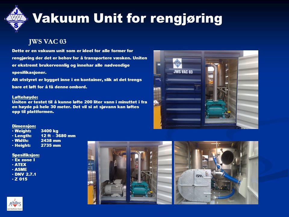 Vakuum Unit for rengjøring Dette er en vakuum unit som er ideel for alle former for rengjøring der det er behov for å transportere væsken. Uniten er e