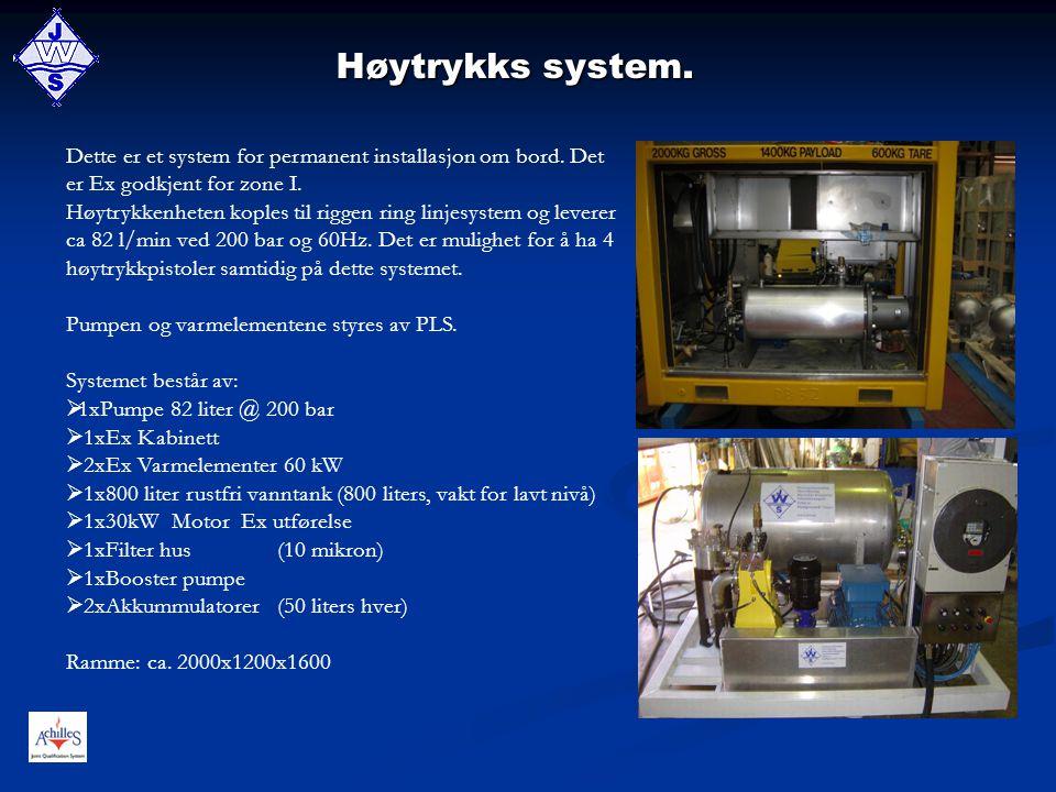 Høytrykks system. Dette er et system for permanent installasjon om bord. Det er Ex godkjent for zone I. Høytrykkenheten koples til riggen ring linjesy