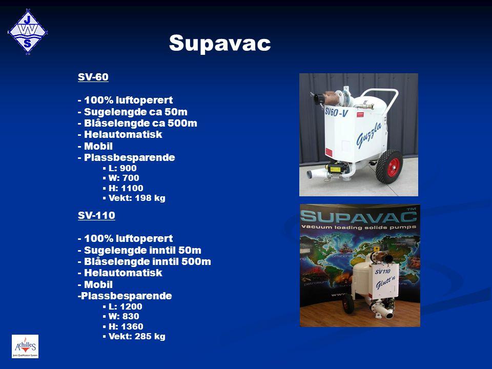 Supavac SV-60 - 100% luftoperert - Sugelengde ca 50m - Blåselengde ca 500m - Helautomatisk - Mobil - Plassbesparende  L: 900  W: 700  H: 1100  Vek
