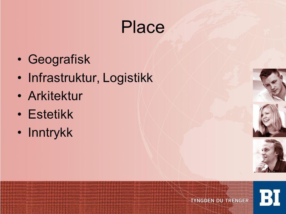 Place •Geografisk •Infrastruktur, Logistikk •Arkitektur •Estetikk •Inntrykk